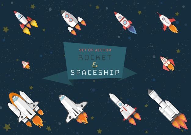 Set di razzo spaziale e navetta spaziale.