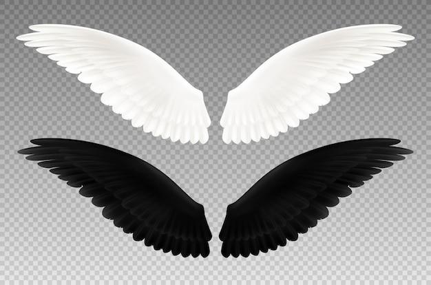 Set di realistico bianco e nero paio di ali su trasparente come simbolo del bene e del male isolato