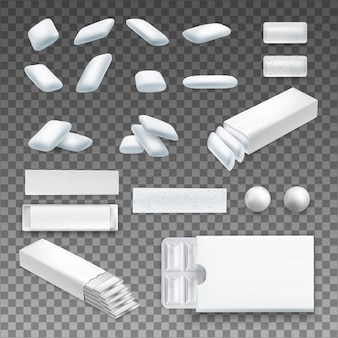 Set di realistico chewing gum di varia forma in colore bianco su trasparente isolato