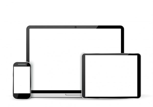 Set di realistico portatile, tablet e cellulare con schermo vuoto.