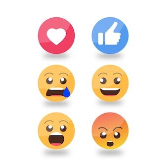 Set di reazioni emoticon sorridenti