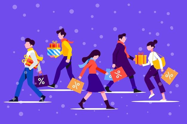 Set di regali di natale d'acquisto della gente