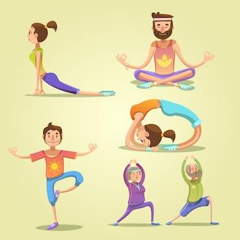 Set di retrò dei cartoni animati di yoga