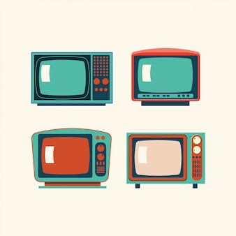 Set di retro illustrazione tv