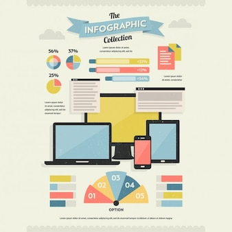 Set di retro infographic elements