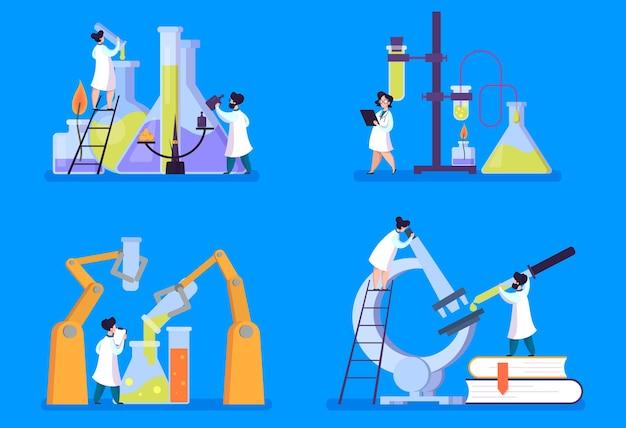 Set di ricerca farmaceutica. scienziato che fa test clinici
