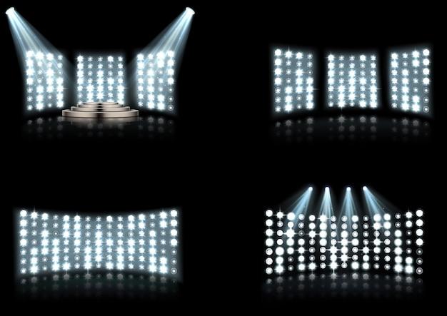 Set di riflettori di illuminazione arena stadio brillante
