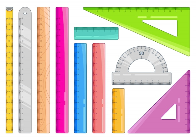 Set di righelli colorati. articoli per ufficio di misura d'arte e articoli di cancelleria per la scuola. illustrazione su bianco.