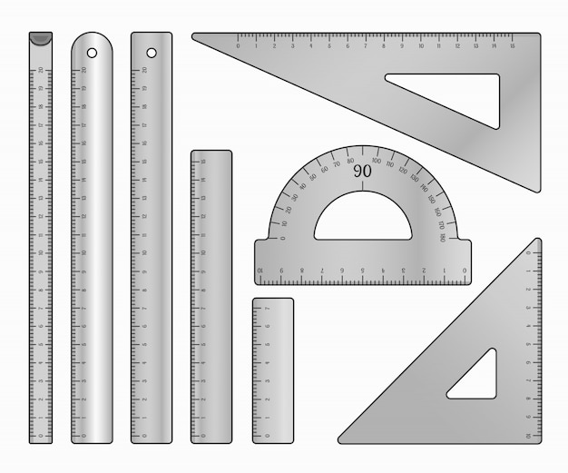 Set di righelli di metallo. articoli per ufficio di misura d'arte e articoli di cancelleria per la scuola. illustrazione su bianco.