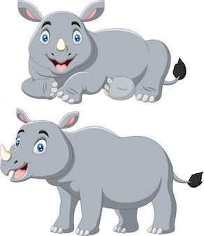 Set di rinoceronte simpatico cartone animato