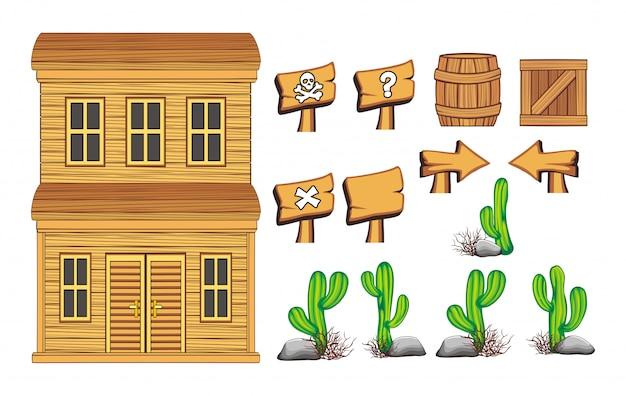 Set di risorse di gioco selvaggio west