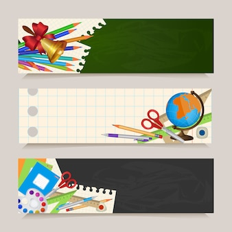 Set di ritorno a banner scolastici con oggetti per studenti