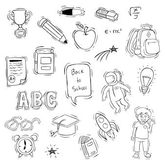 Set di ritorno a oggetti scolastici con stile doodle o schizzo