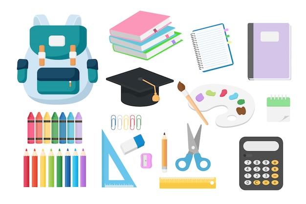 Set di ritorno a oggetti scolastici isolati