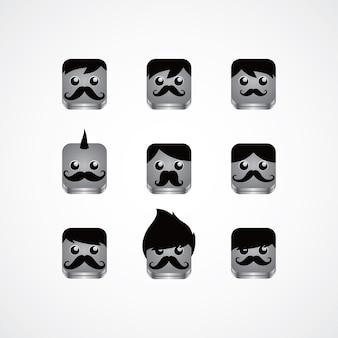 Set di ritratti di avatar maschile