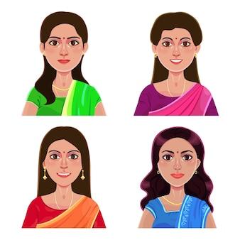 Set di ritratti di bella giovane ragazza indiana, stile fumetto avatar