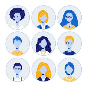 Set di ritratti di uomini e donne, icone rotonde avatar