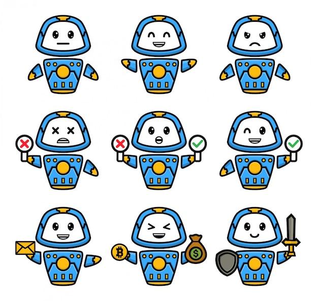 Set di robot blu con diversa posa