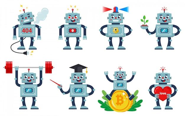 Set di robot che lavora su uno sfondo bianco