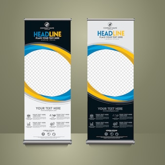 Set di roll up modello banner, astratto moderno.