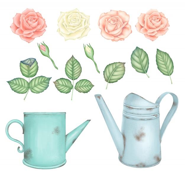 Set di rose rosa e bianche vintage e annaffiatoio arrugginito