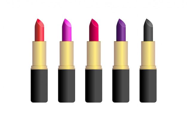 Set di rossetto isolato in tubo nero e oro