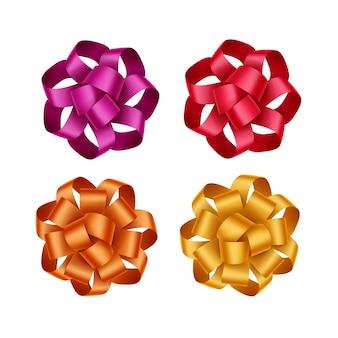 Set di rosso brillante arancione scarlatto giallo magenta rosa scuro regalo fiocchi di nastro vicino isolato su sfondo bianco