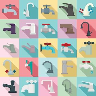Set di rubinetti, stile piatto