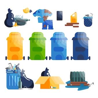 Set di sacchi della spazzatura e roba. raccolta di rifiuti di plastica, carta e vetro.