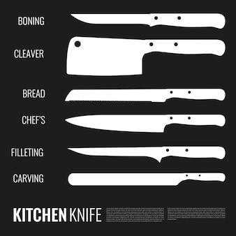 Set di sagome di coltelli bianchi di forme diverse per vari prodotti e scopi sul nero