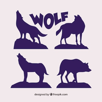 Set di sagome di lupo
