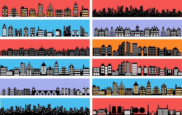 Set di sagome di paesaggio di città