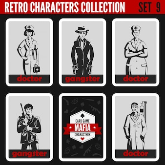 Set di sagome di persone vintage retrò. gangster, illustrazioni di professioni di medici.