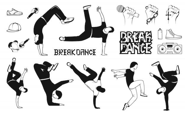 Set di sagome di uomo di breakdance