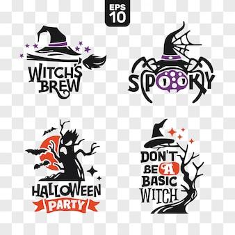 Set di sagome icone di halloween con citazione per la decorazione del partito e adesivo di taglio