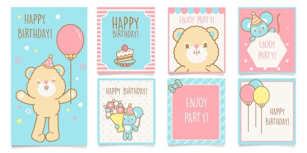 Set di saluti di buon compleanno kawaii carino