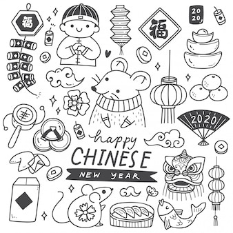 Set di scarabocchi cinesi di nuovo anno