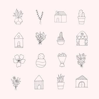 Set di scarabocchi minimalisti disegnati a mano