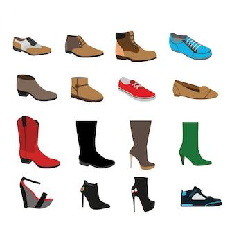 Set di scarpe diverse isolato