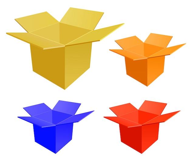 Set di scatola di carta aperta su uno sfondo bianco.