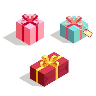 Set di scatola regalo 3d isometrica