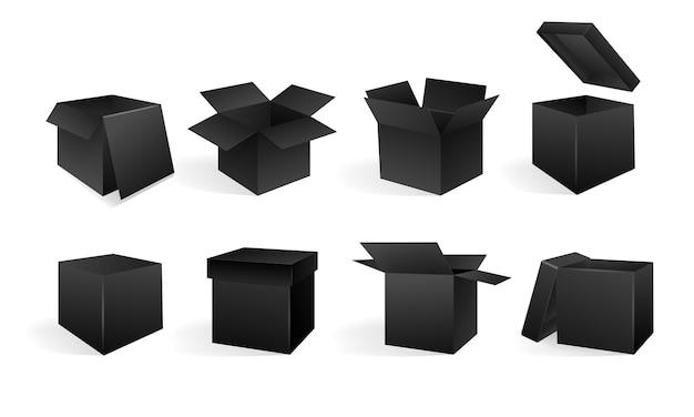 Set di scatole aperte e chiuse in diverse angolazioni. isometria in prospettiva. scatola di cartone nera.