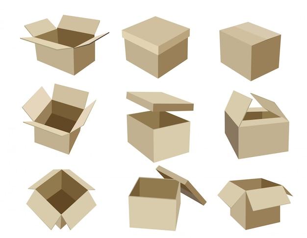 Set di scatole da imballaggio isometriche per imballaggio pacchi