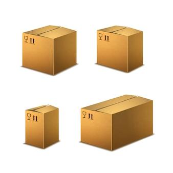 Set di scatole di cartone realistiche
