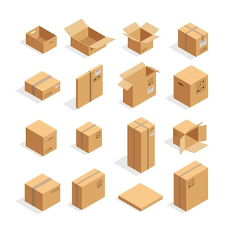 Set di scatole di imballaggio isometrica