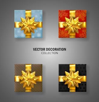 Set di scatole regalo con fiocco oro. confezione regalo di natale. molti regali. regalo di lusso