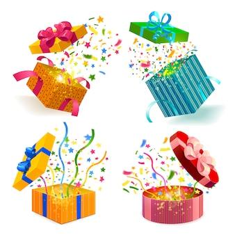 Set di scatole regalo e coriandoli