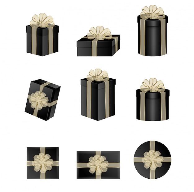 Set di scatole regalo nero con fiocchi e nastri d'oro