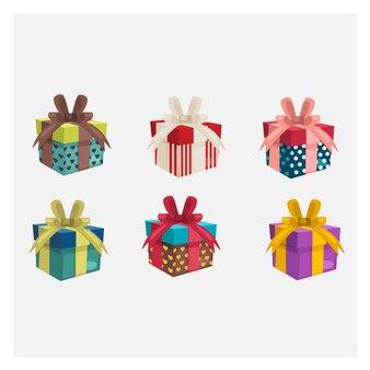 Set di scatole regalo varietà. confezione regalo colorata.