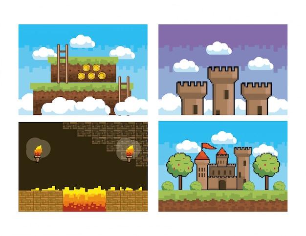 Set di scena e grafica di videogame pixelata
